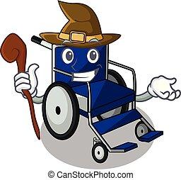 fauteuil roulant, hôpital, sorcière, salle, dessin animé