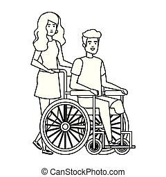 fauteuil roulant, homme, jeune, assistant, femme