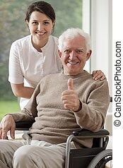 fauteuil roulant, homme, vieux, séance