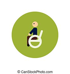 fauteuil roulant, icône, homme, couleur, élégant, cercle