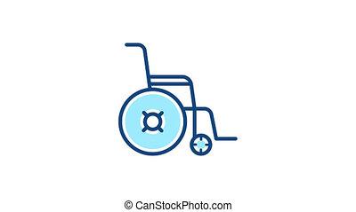fauteuil roulant, icône, linéaire, pictogramme