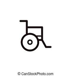 fauteuil roulant, icône, signe