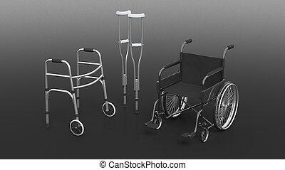 fauteuil roulant, incapacité, isolé, béquille, noir, marcheur, métallique