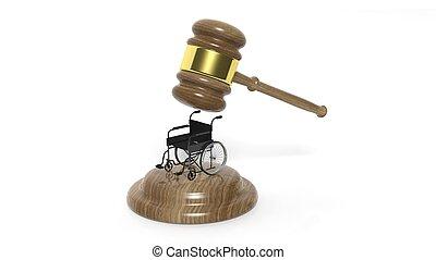 fauteuil roulant, incapacité, isolé, noir, marteau, blanc