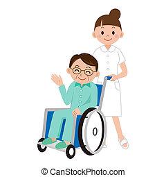fauteuil roulant, infirmière, homme