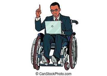 fauteuil roulant, isolé, fond, africaine, homme affaires, blanc