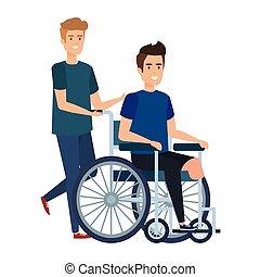 fauteuil roulant, mâle jeune, assistant, homme