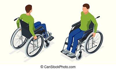 fauteuil roulant, marche, utilisé, utilisation, isolated., quand, monde médical, ou, equipment., isométrique, dû, maladie, rampe, roues, disability., impossible, chaise, difficile, blessure, soutien, homme