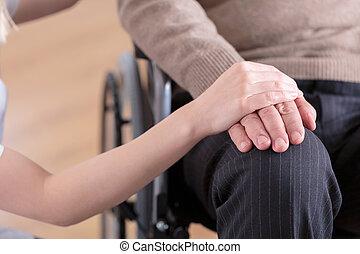fauteuil roulant, séance homme