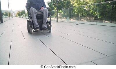 fauteuil roulant, suivre, résolution, accessibilité, devant...