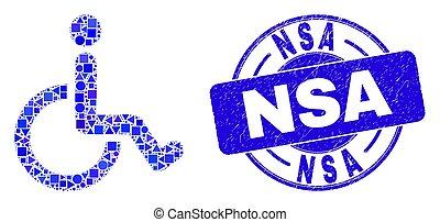 fauteuil roulant, timbre, bleu, détresse, nsa, mosaïque
