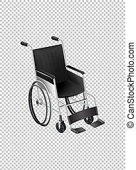 fauteuil roulant, transparent, fond