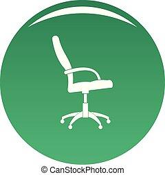 fauteuil roulant, vecteur, vert, icône