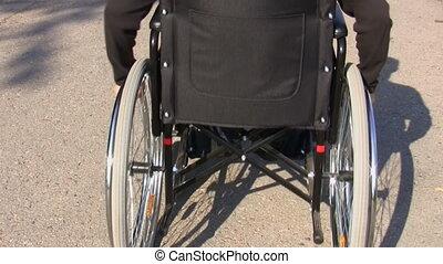 fauteuil roulant, vue, arrière, homme