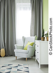 fauteuil, salle, commode