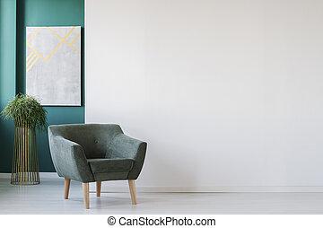 fauteuil, salle, minimalistic