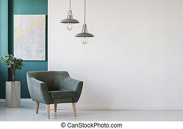 fauteuil, salle moderne