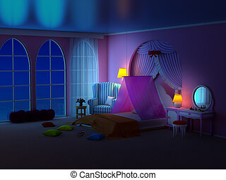 fauteuil, salle, princesse, nuit