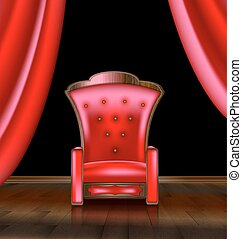 fauteuil, salle, rouges