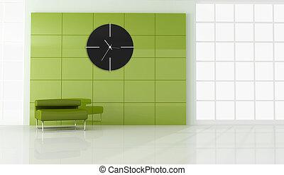 fauteuil, salle, vide, vert, moderne
