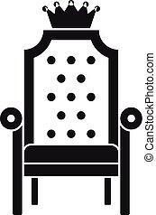 fauteuil, simple, roi, style, icône