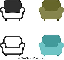 fauteuil, sofa, ou, icônes