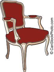 fauteuil, style, rouges