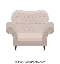 fauteuil, style, vecteur, plat