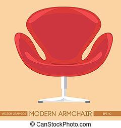 fauteuil, sur, dos, pêche, rouges, moderne