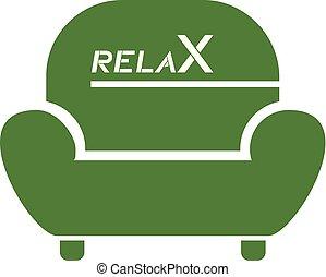 fauteuil, symbole, gentil, vert, relâcher