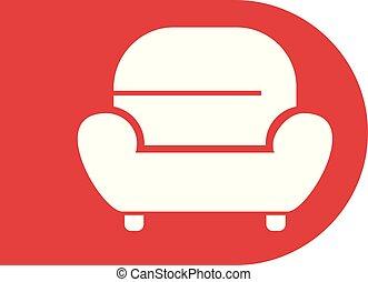 fauteuil, symbole, rouges, relâcher