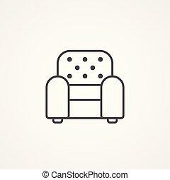 fauteuil, symbole, vecteur, icône, signe