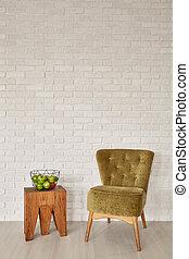 fauteuil, tabouret, salle