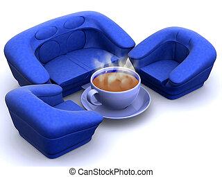 fauteuil, tasse à café