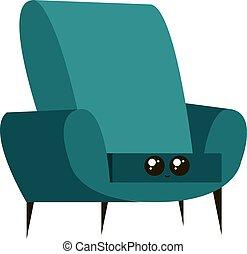fauteuil, vecteur, blanc, illustration, arrière-plan., bleu