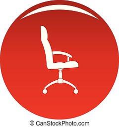 fauteuil, vecteur, bureau, rouges, icône