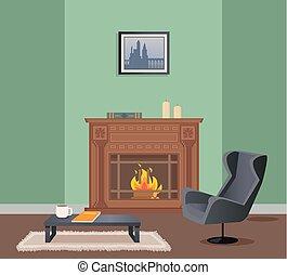 fauteuil, vecteur, cheminée, salle, table