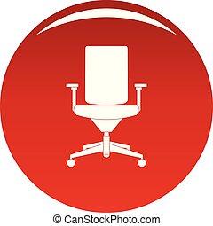fauteuil, vecteur, confortable, rouges, icône