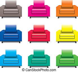 fauteuil, vecteur, ensemble, coloré