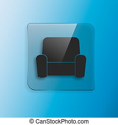 fauteuil, vecteur, icône