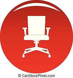 fauteuil, vecteur, informatique, rouges, icône