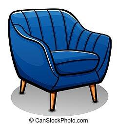 fauteuil, vecteur, isolé, dessin animé, bleu