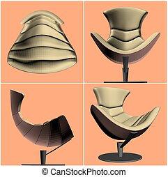 fauteuil, vecteur, moderne, 27.eps