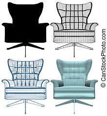 fauteuil, vecteur, moderne, 63.eps