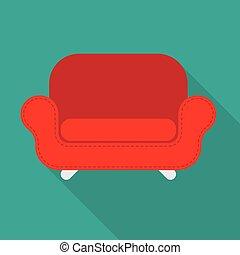 fauteuil, vecteur, rouges