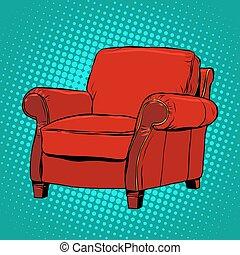 fauteuil, vecteur, rouges, meubles