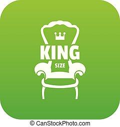 fauteuil, vecteur, royal, vert, icône