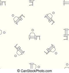 fauteuil, vecteur, table, seamless, modèle