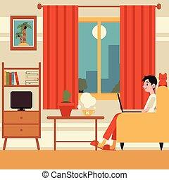 fauteuil, vecteur, travail maison, indépendant, homme