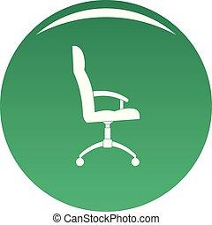 fauteuil, vecteur, vert, bureau, icône